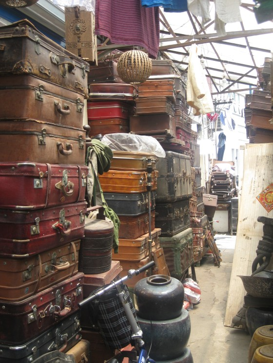 Suitcases on display at market