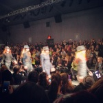 Hats were all over the runway.  Here, they were fedoras at Nicole Miller
