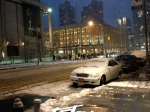 Lincoln Center covered in snow